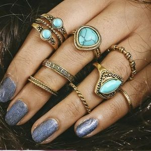 8 piece gold turquoise boho midi knuckle ring set